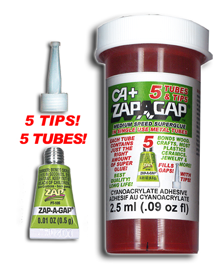 ZAP-A-GAP  5 SINGLE USE TUBES .5ml EACH w/TIPS {pac-prices} [106185]