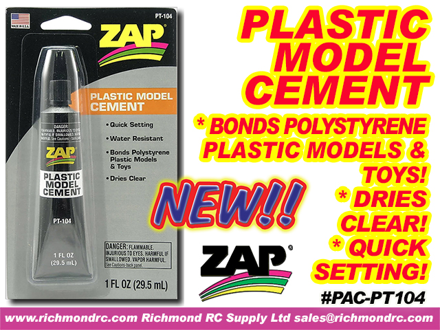 ZAP PLASTIC MODEL CEMENT (FOR STYRENE) 29.5ml 1oz {pac-prices} [ 40411]