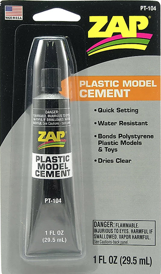 ZAP PLASTIC MODEL CEMENT (FOR STYRENE) 29.5ml 1oz {pac-prices} [ 80807]