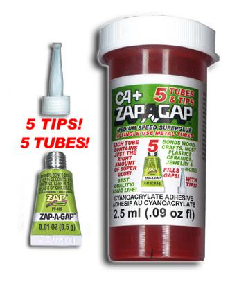 ZAP-A-GAP  5 SINGLE USE TUBES .5ml EACH w/TIPS {pac-prices} [108075]