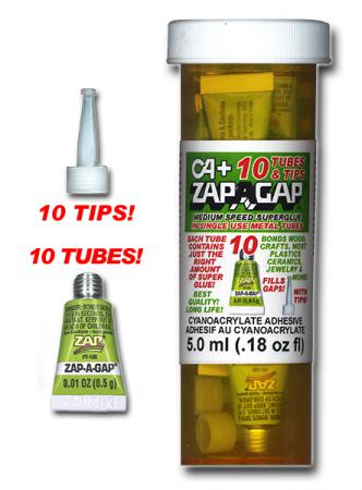 ZAP-A-GAP 10 SINGLE USE TUBES .5ml EACH w/TIPS {pac-prices}