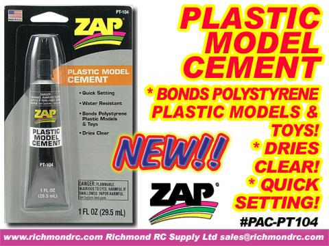 ZAP PLASTIC MODEL CEMENT (FOR STYRENE) 29.5ml 1oz {pac-prices}