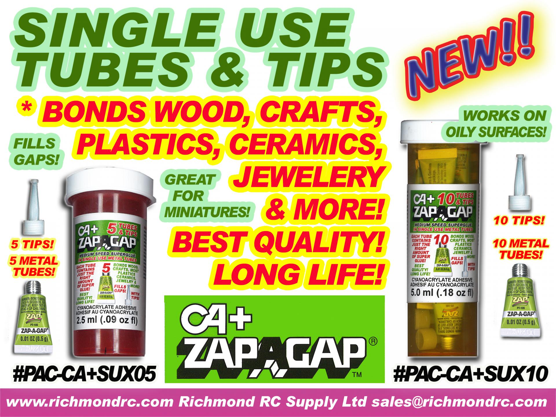 ZAP-A-GAP  5 SINGLE USE TUBES .5ml EACH w/TIPS {pac-prices}