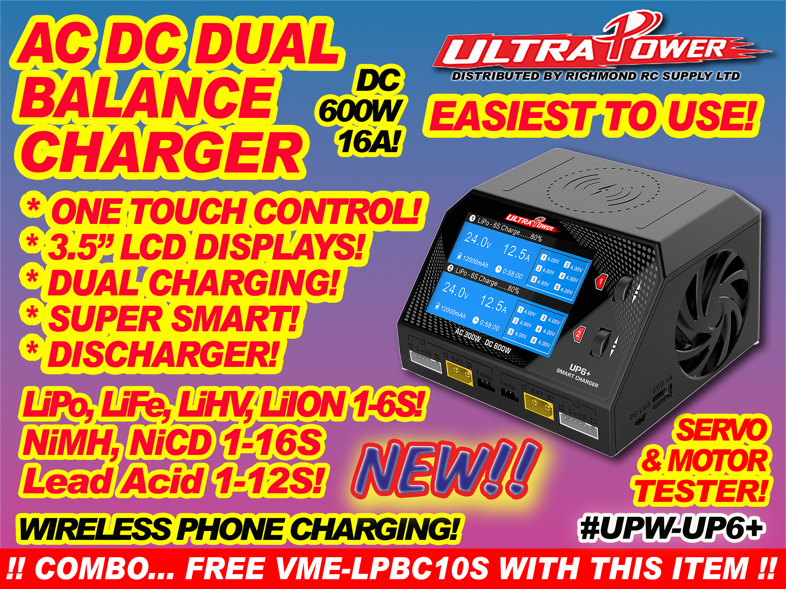 ULTRA POWER CHARGER - AC-DC, 600W 16A DUAL w/LCDx2  [ 40402]
