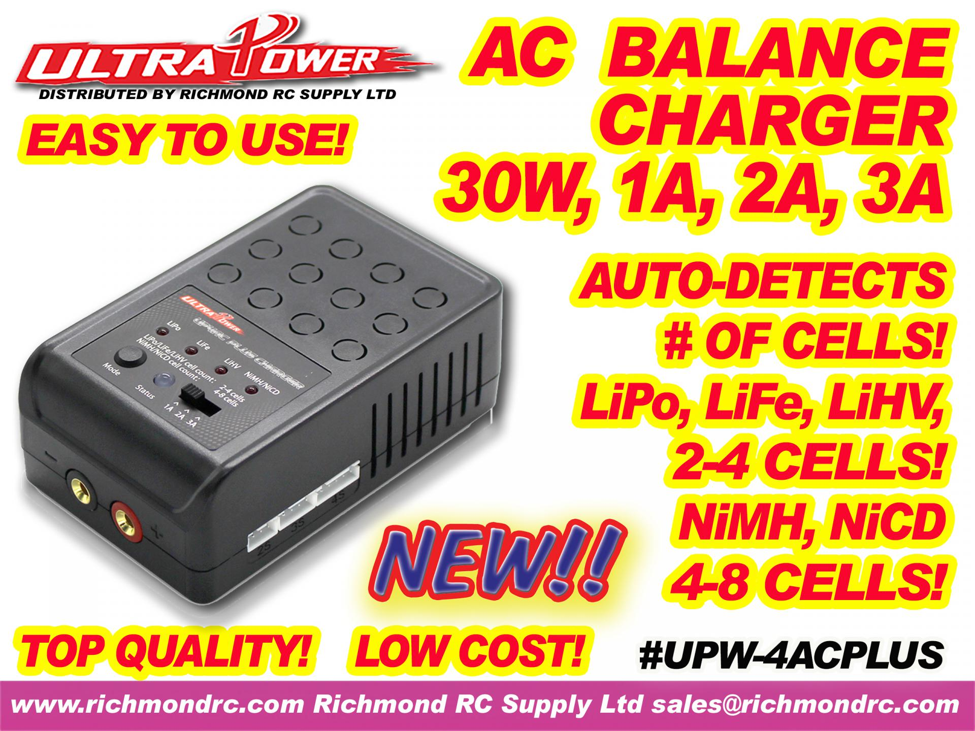 ULTRA POWER CHARGER - AC, 30W, 1A 2A 3A w/LED  [ 61008]