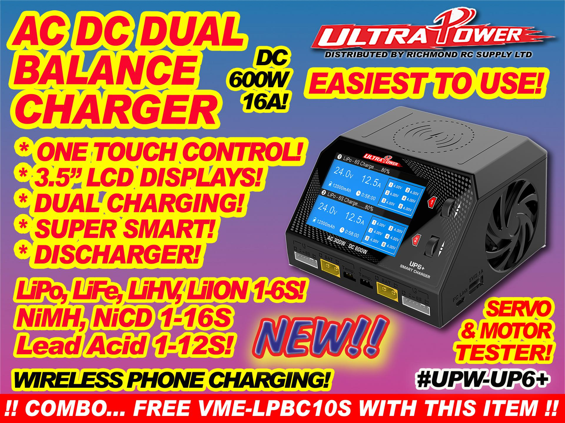 ULTRA POWER CHARGER - AC-DC, 600W 16A DUAL w/LCDx2  [ 21604]