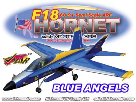 VMAR F18 HORNET 60-91 JET (PROP) ARF 3DS - BLUE