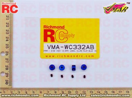 VMAR - 3/32 INCH (2.5MM) WHEEL CLLRS ALUM BLUE (4)